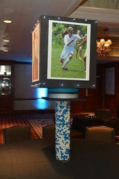 Blue & White Candy Centerpieces with Giant Photo Cube {Westminster Hotel NJ, Brad Photographers & Video} - mazelmoments.com