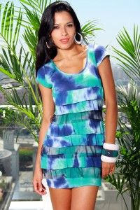 aqua tie-dye cap sleeve ruffle dress