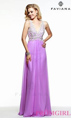 Floor Length V-Neck Gown by Faviana at PromGirl.com