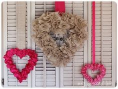 Satin ruffled heart wreath.  Perfect for Valentine's Day.