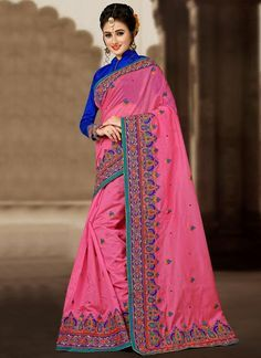 d6652208aa7 Shop online for sarees and wedding sarees. Buy this chanderi pink  embroidered and zari work