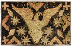 """American Primitive-Style Hooked Rug, Dated 1907, 25"""" wide x 40"""" high"""