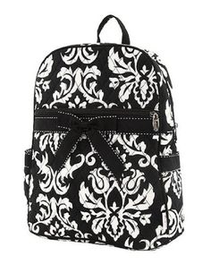 Belvah Large Quilted Damask Print Backpack  Choice of Colors BlackWhite *** Want to know more, click on the image.(This is an Amazon affiliate link and I receive a commission for the sales)