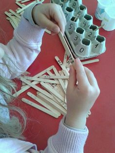 Hands on idea for learning addition facts. Nursery Activities, Craft Activities For Kids, Kindergarten Activities, Teaching Math, Crafts For Kids, Early Years Maths, Early Math, Numbers For Kids, Math Numbers