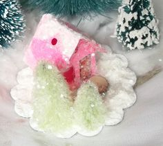 Vintage Putz Style Tiny Miniature Candy Pink Glitter Sugar House and Pine Trees for your Christmas Village Ornament can be Lighted by TheUglyDuckling1962 on Etsy