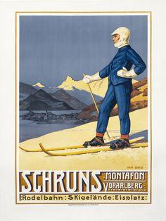 Schruns Montafon Vorarlberg by Bertle, Hans   Winter Sport - Heiden by Burger, Wilhelm Friedrich   Shop original vintage Plakatstil #posters online: www.internationalposter.com