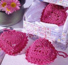 On time for Valentine crochet heart sachets ♥LCH-MRS♥ with diagram. Crochet Sachet, Crochet Motifs, Crochet Stitches Patterns, Thread Crochet, Crochet Doilies, Crochet Flowers, Crochet Hearts, Crochet Designs, Beau Crochet