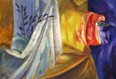 Heat light fabric light bulb wicker basket #academic #art #painting