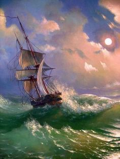 Tall Ship, Stormy Sea by Oleg Kulagin #tallships #paintings
