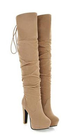 Ruched and Solid Color Design Thigh Boots