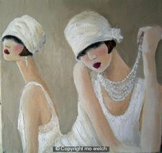 Flapper Painting - 1920 by Mo Welch 1920s, Art Deco, Hats, Artist, Artwork, Painting, Design, Fashion, Figurative