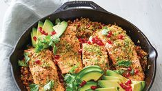 Skillet-Roasted Salmon with Avocado, Pomegranate, and Bulgur – Video Recipe – FineCooking - Bulgur Salad Crêpe Recipe, Butter Recipe, Beef Tartare, One Skillet Meals, Salmon Avocado, Roasted Salmon, Easy Weeknight Dinners, Just Cooking, Daily Meals
