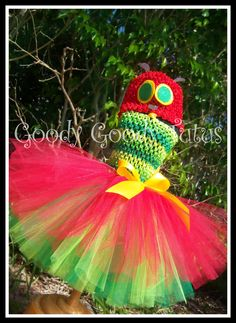 BEFORE THE BUTTERFLY Very Hungry Caterpillar Inspired Tutu Dress with Matching Cap. $55.00, via Etsy.