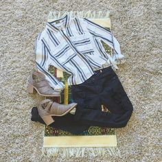 • Black & White Stripe Collar Button Crop Blouse • Amazing top- I have two in my closet! This top is amazing with high-waisted shorts or jeans!  Serious buyers for modeled photos only please. Feel free to make offers! Thank you! I Am Tops
