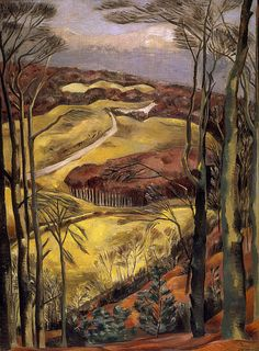 "Berkshire Downs - Paul Nash, 1922 From the National Galleries of Scotland: "" Many of Nash's paintings, even those executed when he was an Official War Artist, have trees and landscapes as their main theme. He regarded trees as symbols of Nature's. Landscape Art, Landscape Paintings, Hans Baldung Grien, English Artists, British Artists, Art Uk, Art For Art Sake, Your Paintings, Beautiful Paintings"