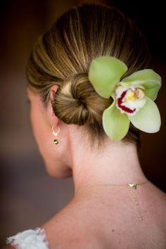 style me pretty - real wedding - mexico beach wedding - bride - getting ready - wedding hairstyle - updo - green cymbidium orchid