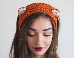 Punto Fox orejas diadema, diadema con orejas, calentador del oído, rojo anaranjado invierno diadema, regalo para ella, para novia, amigo, de punto para mujer