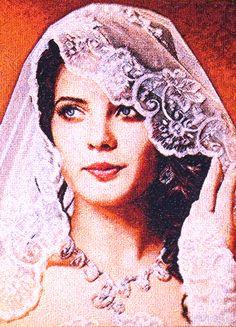 "Embroidered portrait custom. ""Bride"" (fragment). (size380x520 mm). Artist Zhanna Plaksina."