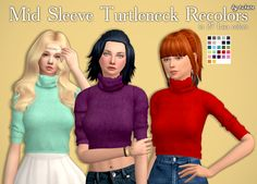 Mid Sleeve Turtleneck Recolors• Custom icon thumbnail • Standalone •  27 Lisa colors by @simsrocuted • Original mesh by @chisimi • TS4 Conversion by @elliesimple Mesh is not included! Please download...