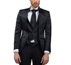 Gehrock Cutaway Herren Anzug 3 teilig Gr.54 Schwarz