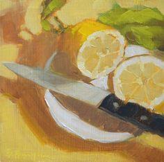 """Daily Paintworks - """"Fresh Lemon Slice"""" - Original Fine Art for Sale - © Bruce Bingham"""