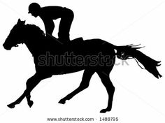 Black And White Illustration Of A Jockey And Horse During The Race ...