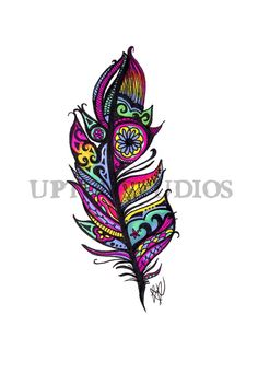 Neon Tribal Feather Tattoo Art Print by UptonStudios on Etsy Tribal Feather Tattoos, Feather Tattoo Design, Feather Drawing, Feather Art, Body Tattoos, New Tattoos, Tatoos, Kunst Tattoos, Arrow Tattoos