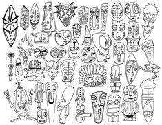 illustration of Tiki from Polynesian folklore Tiki Tattoo, Tiki Man, Tiki Tiki, Art Indien, Tiki Faces, Tribal Face, Tiki Totem, Vintage Tiki, Journaling