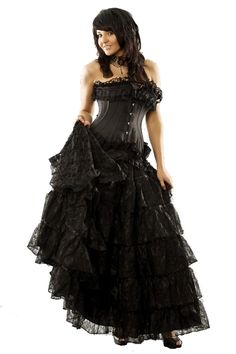Burleska Victorian Gothic Skirt - Long Black Lace