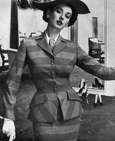 this fabulous 1950s jacket was created with clever use of striped fabric, cut at an angle at the lower edge and enhanced by putting the pocket flaps at an angle to create a chevron