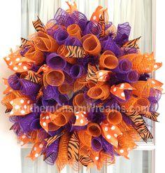 CLEMSON Tigers Deco Mesh Dorm Tailgating Wreath Orange Purple. $45.00, via Etsy.