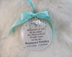 In Memory Ornament Memories of You Fill My Mind Mother Memorial Ornaments, Memorial Gifts, Diy Christmas Ornaments, How To Make Ornaments, Christmas Balls, Glass Ornaments, Holiday Crafts, Christmas Decorations, Memorial Ideas