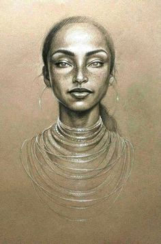 """The Moon & The Sky"" - Sara Golish, graphite and conté on toned paper {figurative beautiful female head woman face portrait cropped monochrome drawing Black Art, Black Women Art, Art Visage, Afrique Art, African American Art, Dope Art, Female Art, Female Head, Amazing Art"