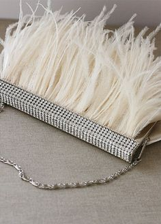 feather clutch, feather embellished clutch, great gatsby inspired bridal accessories,