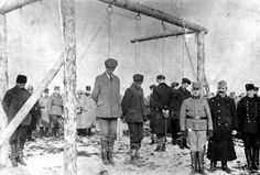 Austro-Hungarian troops executing Serbian civilians, likely ca. 1915. Serbians suffered greatly during the war years, counting more than a million casualties by 1918, including losses in battle, mass executions, and the worst typhus epidemic in history