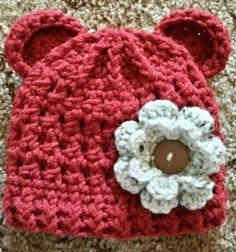 Bulky Bear Beanie w/flower