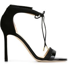 Jimmy Choo 'Marida' sandals ($735) ❤ liked on Polyvore featuring shoes, sandals, heels, black, heeled sandals, leather heeled sandals, leather shoes, stiletto sandals and black open toe sandals