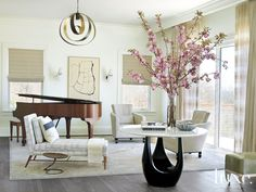 Contemporary White Living Room with Chaise Lounge