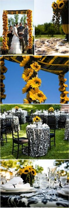 Are you planning a Sunflower wedding theme? Weddingnewsday has tons of inspiring Sunflower wedding photos showcasing the best Sunflower wedding ideas and decors. Sunflower Wedding Decorations, Sunflower Party, Wedding Table Flowers, Wedding Centerpieces, Wedding Colors, Sun Flower Wedding, Sunflower Colors, Yellow Wedding, Perfect Wedding