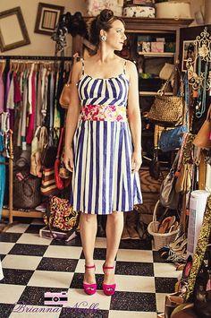 Blue & White Striped Sun Dress - $60