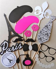 Paris Party Photo Booth Props. Parisian Photo Booth Props. Glitter. Girls Night Out / Bachelorette / Birthday / Wedding.