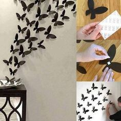 A simple DIY tip to add the beauty of black butterflies to your wall decor. Step 1- Take a black chart paper and mane numerous butterfly cut outs. Step 2- Cut a small piece of double sided tape and use it put up the butterflies on the wall. Step 3- Arrange them in a fashion that displays a bunch of butterflies flying. Step 4- Place a plate to add beauty to the setting.