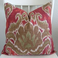 ONE new red taupe marreskesh ikat indian by chicdecorpillows Ikat Pillows, Indian Summer, Home Decor Fabric, Decorative Pillow Covers, Different Fabrics, Rustic Chic, Fabric Design, Handmade Gifts, Taupe