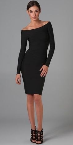 Herve Leger Signature Essential Long Sleeve Cocktail Dress - StyleSays