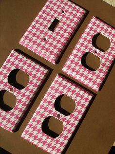 Pink and White Houndstooth Single Light by COUTURELIGHTPLATES, $13.00