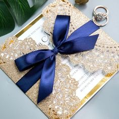 fall wedding invitations Luxury Rose Gold Laser Cut Wedding Invitations with Navy Blue Glitter Ribbon Bow and Gold Mirror Paper Backer, Fall Weddings, Vintage Wedding Invitations - Wedding Invitations - Wedding Invites Paper Fall Wedding Colors, Purple Wedding, Wedding Flowers, Spring Wedding, Gold Wedding, Glitter Ribbon, Ribbon Bows, Blue Glitter, Navy Ribbon
