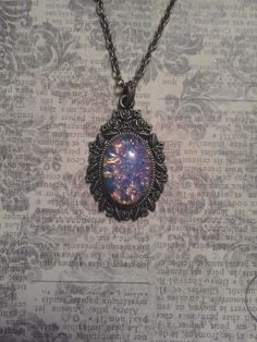 Vintage 1940's Czech Harlequin Opal Art Glass in Bronze Floral Rose Pendant Setting on Necklace