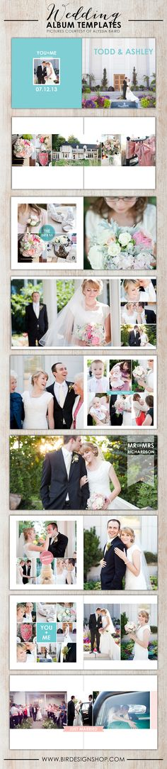 Adorable wedding album templates for Photoshop #Wedding #Albums