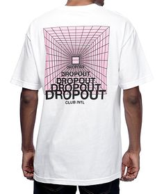 The Zorched white t-shirt from DROPOUT CLUB INTL has a classic cotton construction for comfort and logo graphics printed at the left chest and back for fresh style.