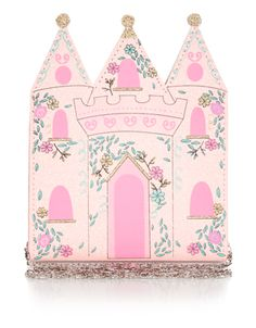 Our sparkly pink fairy castle bag for girls is decorated with gold glittery and pretty flower decorations. Features a long shoulder chain. Warning! Not suita...